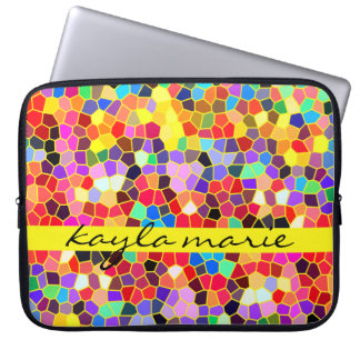 Colorful Stained Glass Rainbow Abstract Mosaic Laptop Sleeve