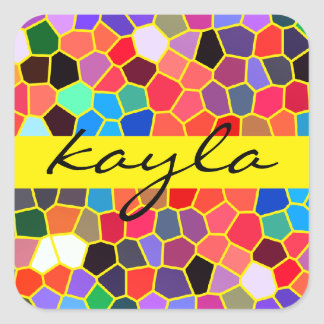 Colorful Stained Glass Rainbow Abstract Mosaic Square Sticker