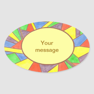 Colorful Stained glass your message, oval stickers