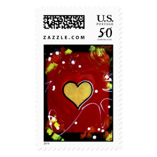 Colorful Stamps Poker Casino Suit of Hearts