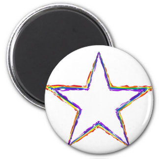 Colorful Star 2 Inch Round Magnet