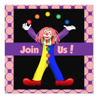 Colorful Star Black Happy Clown Party Invite