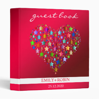 Colorful Star Heart Wedding Guestbook Binder