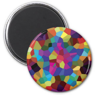 Colorful Star Mosaic 2 Inch Round Magnet