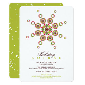 Colorful Star Ornament Modern Holiday Party Invite