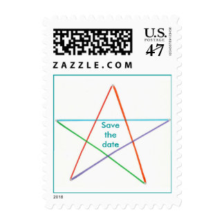 Colorful Star Outline Save the date Stamps