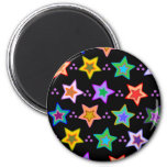 Colorful star pattern 2 inch round magnet