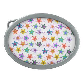 Colorful star pattern belt buckles
