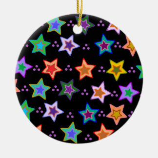 Colorful star pattern christmas tree ornaments
