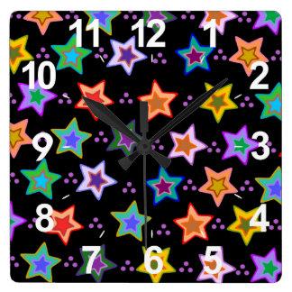 Colorful star pattern wallclock