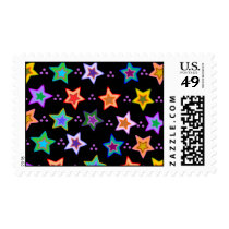 Colorful star pattern postage
