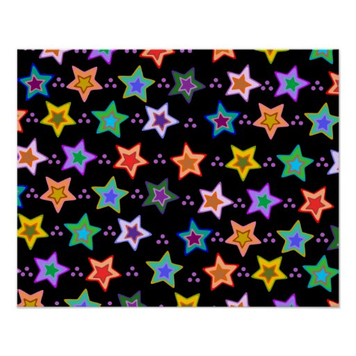 Colorful star pattern posters