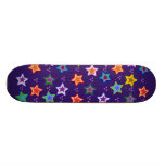 Colorful star pattern skateboard