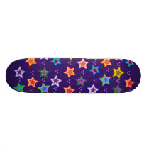 Colorful star pattern skateboard deck