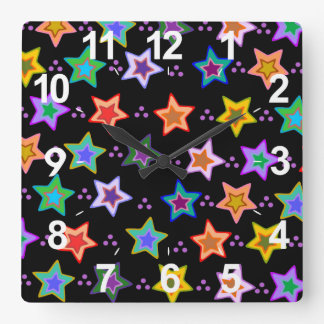 Colorful star pattern square wall clock