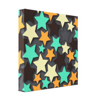 Colorful Star Pattern with Dark Background Canvas Print