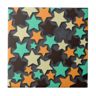 Colorful Star Pattern with Dark Background Ceramic Tile