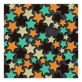 Colorful Star Pattern with Dark Background Poster