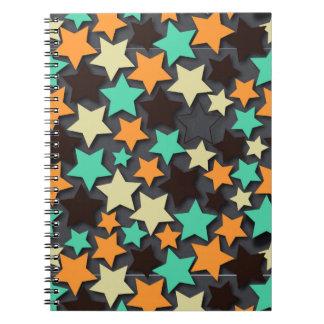 Colorful Star Pattern with Dark Background Spiral Notebook
