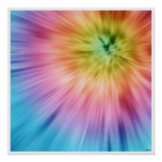 Colorful Starburst Tie Dye Posters