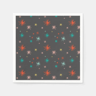 Colorful Starbursts Pattern New Year Holiday Party Paper Napkin