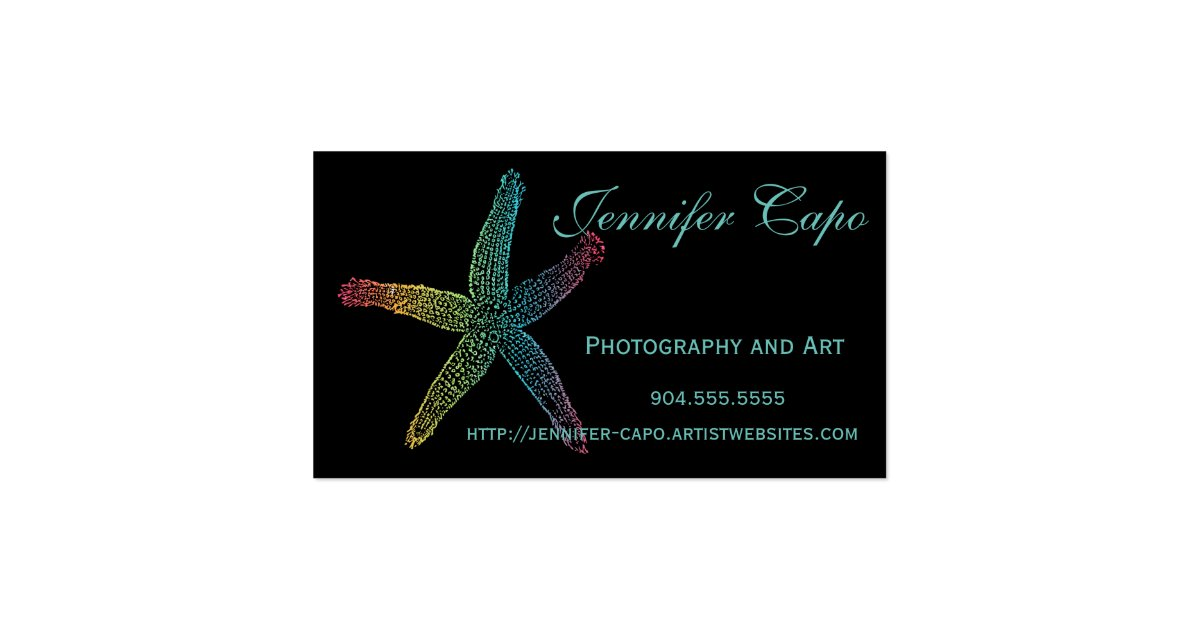 Colorful starfish with black background business card zazzle for Business card background black