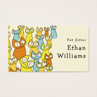 Colorful Staring lot Cats Business Card
