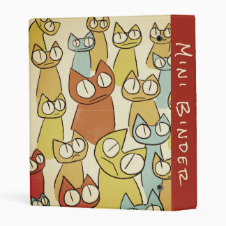 Colorful Staring lot Cats Button Mini Binder