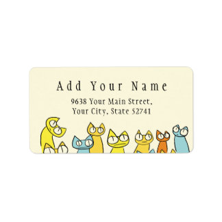 Colorful Staring lot Cats Label