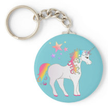 Colorful Stars and Rainbow Unicorn Keychain