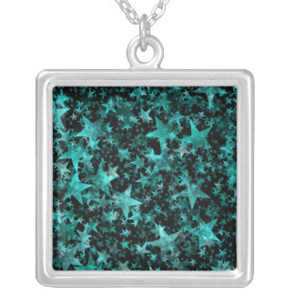 Colorful Stars Aqua Teal Black Background Silver Plated Necklace