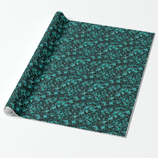 Colorful Stars Aqua Teal Black Background Wrapping Paper