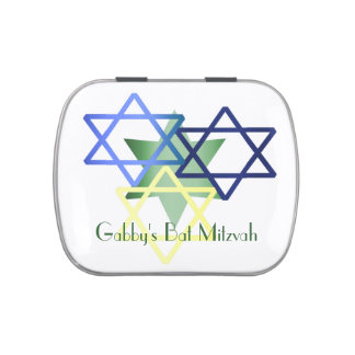 Colorful Stars Bat Mitzvah Custom Party Favor Jelly Belly Candy Tin