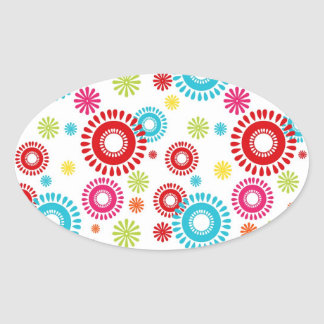 Colorful Stars Bold Bursts of Color Oval Sticker