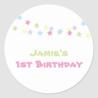Colorful Stars Custom Birthday Sticker