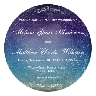 Colorful Stars in the Evening Sky Wedding 5.25x5.25 Square Paper Invitation Card