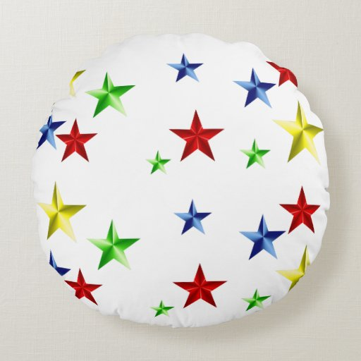 Colorful Stars Round Pillow