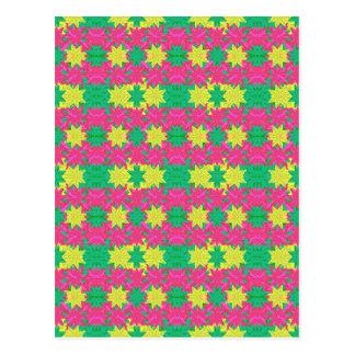 Colorful Stars Motif Pattern Design Postcard