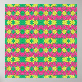 Colorful Stars Motif Pattern Design Poster