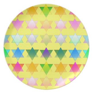 Colorful Stars of David on a Yellow Ground Plate
