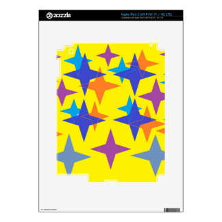 Colorful Stars On A Yellow Background Skin For iPad 3