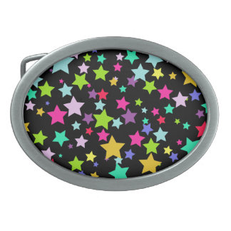 Colorful Stars Oval Belt Buckle