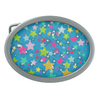 Colorful Stars Oval Belt Buckles