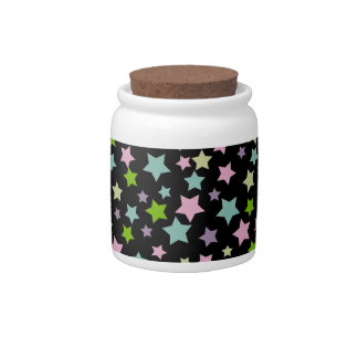 Colorful stars pattern on black candy dishes