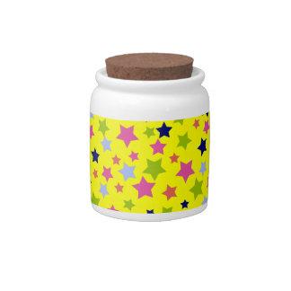 Colorful stars pattern on bright yellow candy jars