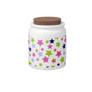 Colorful stars pattern on white candy dishes