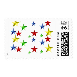Colorful Stars Postage Stamps