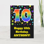 "[ Thumbnail: Colorful Stars + Rainbow Pattern ""10"" Birthday # Card ]"