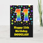 "[ Thumbnail: Colorful Stars + Rainbow Pattern ""11"" Birthday # Card ]"