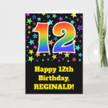 "[ Thumbnail: Colorful Stars + Rainbow Pattern ""12"" Birthday # Card ]"